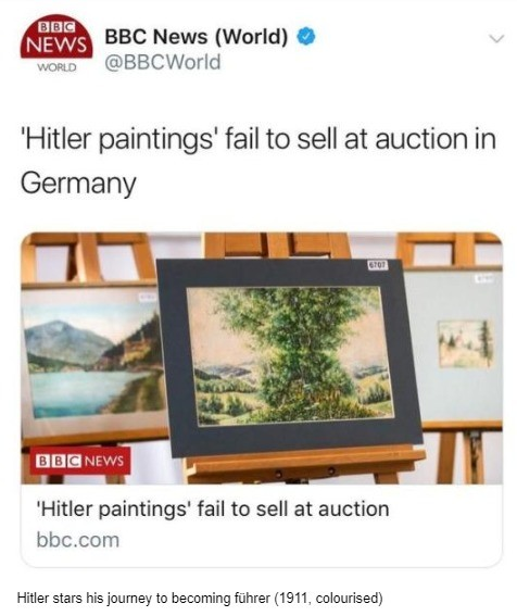 Paintings. .. Because of political reasons surely. Hitler might have been a monster, but he was a great painter, they should recognise art.I mean, that's what made him what h