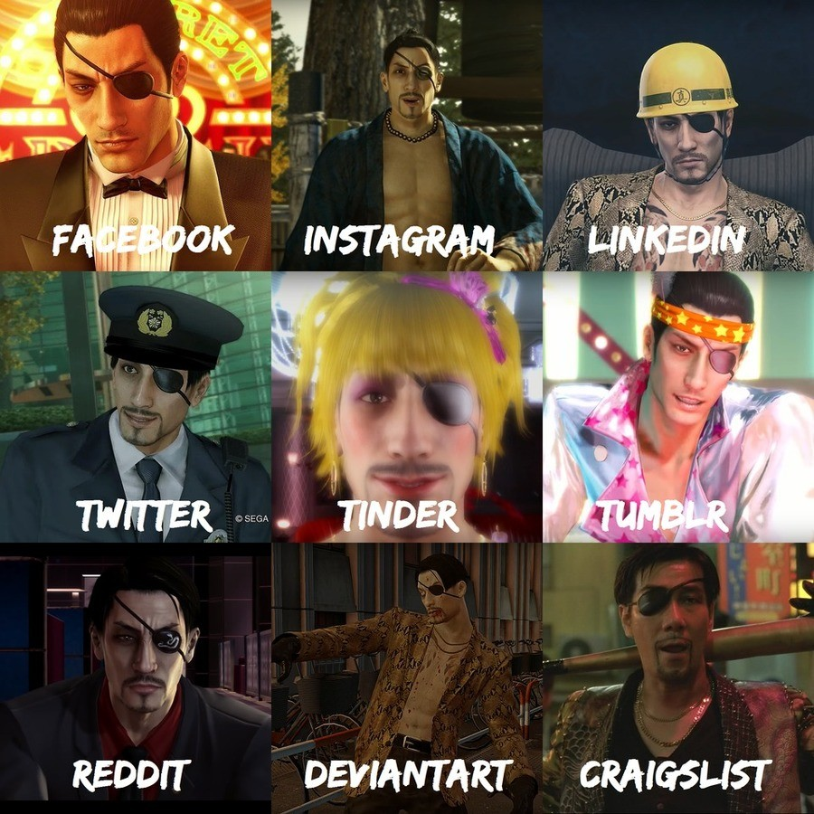 PEAK MALE FANTASY. be like majima aint afraid to be fabulous i fear men will never reach this peak form sauce majimaalwaysdialsitupto_eleven/.. im pretty sure the tinder and tumblr ones are swapped. you try to look good on tinder and that outfit screams that this dude likes to party whereas tumblr is fu