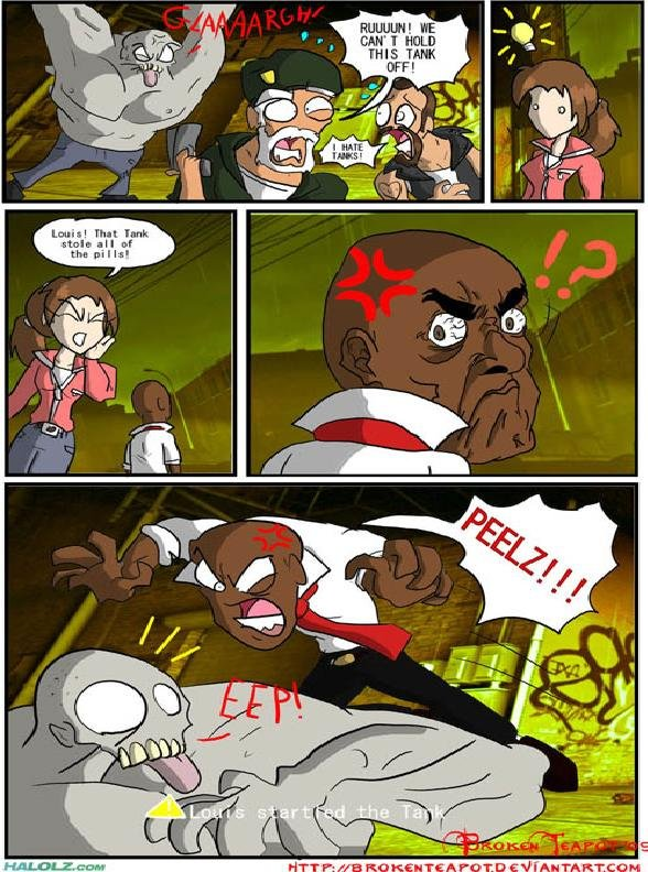 PEELZ!. That tank is .+0 for more left 4 dead!If it is a repost sorry I just found it and thought it was funny.. I-{ arkam. his face in the 4th panel was what made me laugh... good job, please post more!