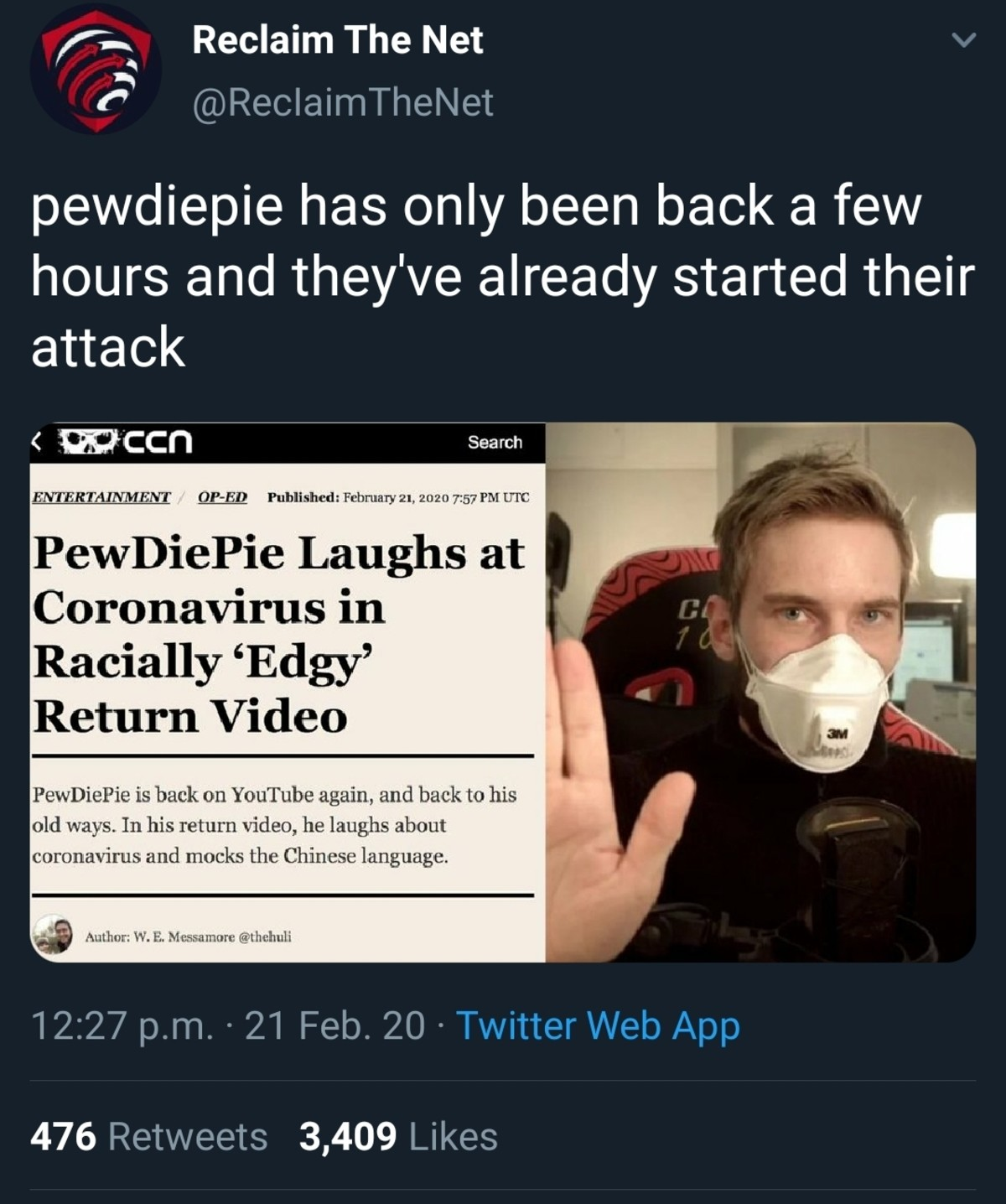 PewDiePie. .. And with that, I just won a bet. Thanks Mr. Journo, very nice!
