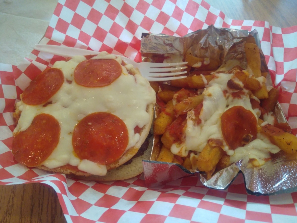 pizza burger and fri. .. That looks nasty I'll take 12