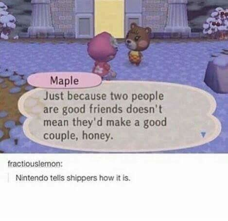 """""""Please Do Not Do That"""". . mis couple, . Nintendo tells shippers how it is.. Found this out the hard way. My first girlfriend ended up way better off just being a friend. Thankfully we remained friends afterwards, but whoo boy, great fri"""