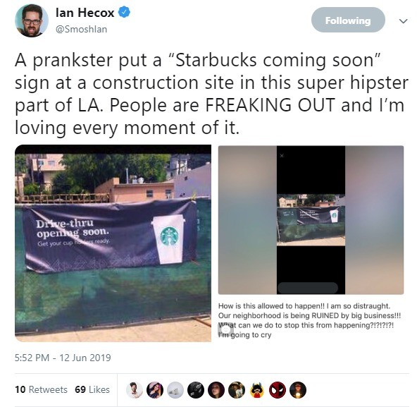 PRANKED. .. I thought hipsters loved Starbucks