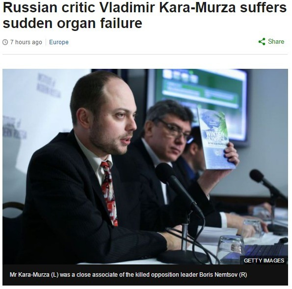 Putin Critic Suffers Organ Failure. All these Putin opponents need to stop eating polonium, it's bad for your health. Source: . Russian critic Vladimir suffers