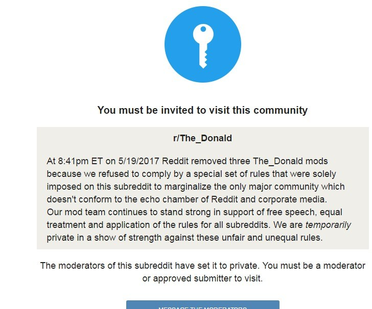 r_donald being purged. join list: theRedPill (1014 subs)Mention History. You must be invited to visit this community Donald At ET on / Reddit removed three mods