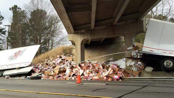 Ramen Noodles. truck carrying Ramen Noodles crashed in NC, Lost their entire cargo. The company estimates the loss to be around $38.00.. Every college student cries