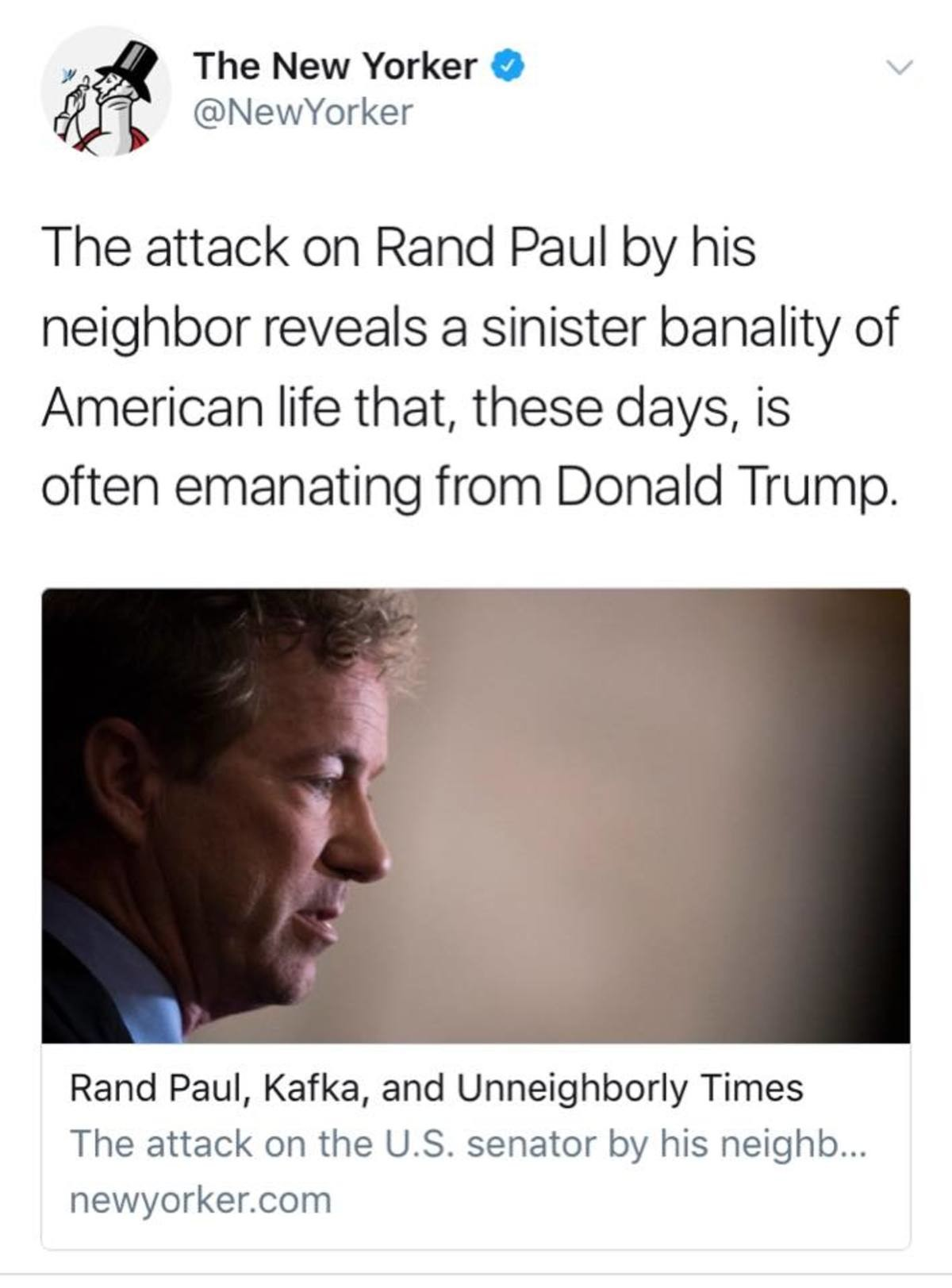 Rand Paul attacked? Trump's fault. . Newyorker Tint? attack '''] 'slantal Paul bl/ his neighbor reveals til sinister banality of American life that, these days,
