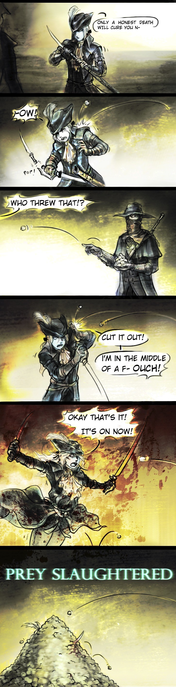 """Random soul comics. Lady Maria a qt Her soundtrack is amazing. . ONLY A HONEST DEATH , T WILL CHEF YOU """" IN we MIDDLE). Can't wait to get to 28 strength to be Guts"""