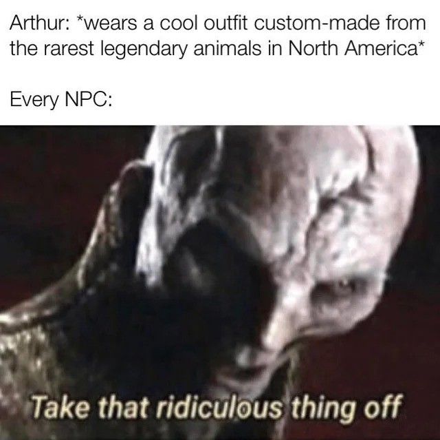 rdr2. .. I'm still pissed that you can't get the legend of the east outfit for arthur without using cheats or glitches. Rockstar added a load of detail to the game but I