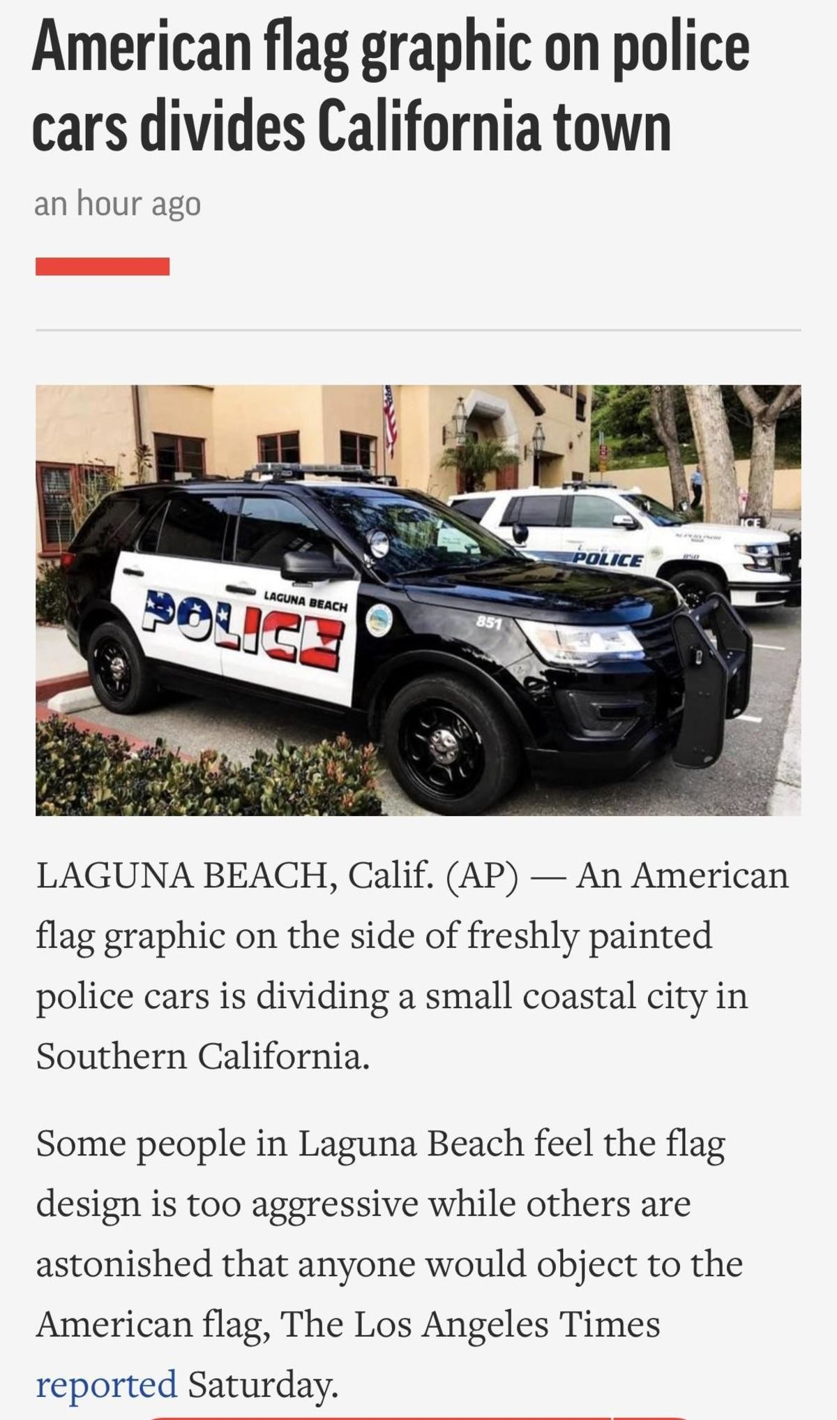 Red white and blue. Red white and blue to libs is like garlic to a vampire... California is anti America. Nothing new