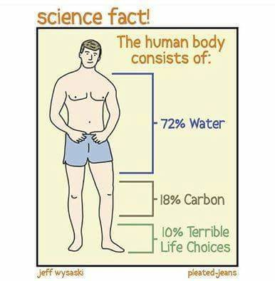 Relatable. . science fact! The human body consists of:. Well guess it's time everyone cuts there feet off doesn't it.