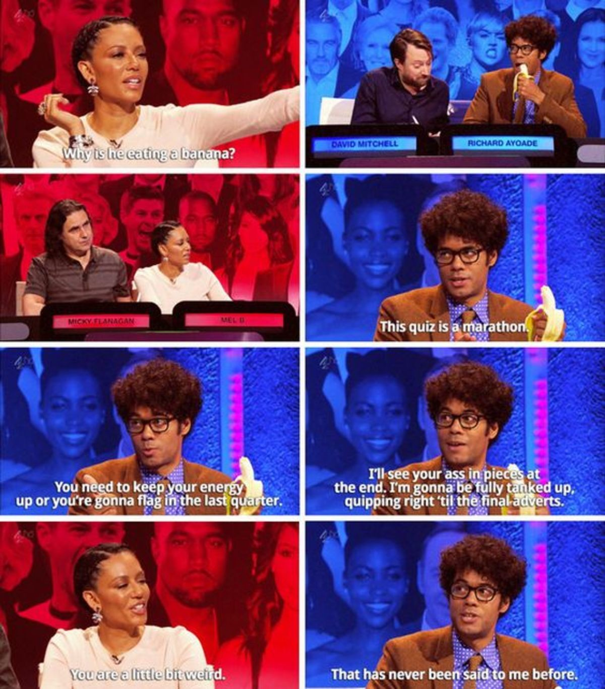 Richard Ayoade's Banana. Big fat quiz of the year... Is this the same episode where this woman was so bland and pointless that someone made an edit where they removed every interaction with her and photoshopped he