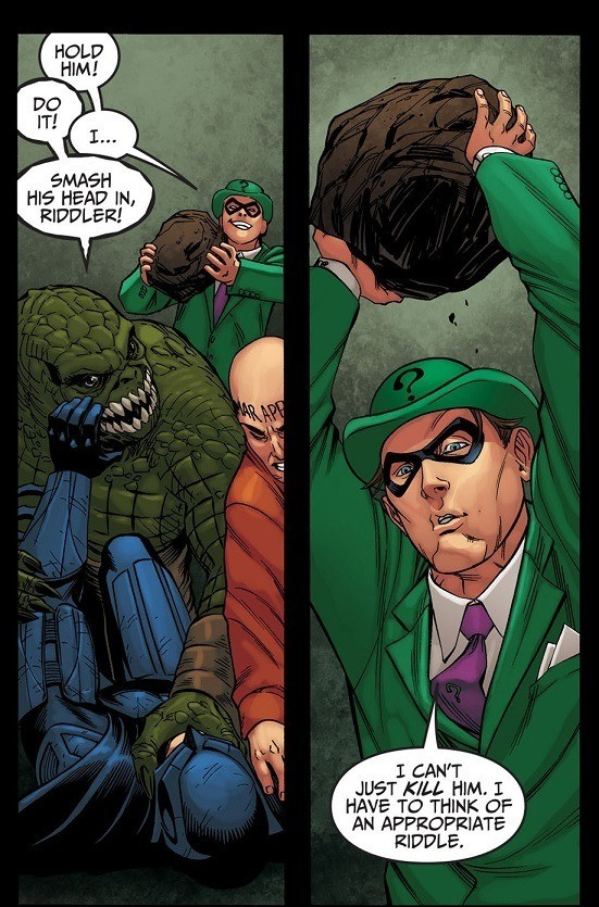 Riddler's Weakness. Injustice... What's 4 foot 2 and in a puddle of goo? Your body, Batman, after this rock crushes you!