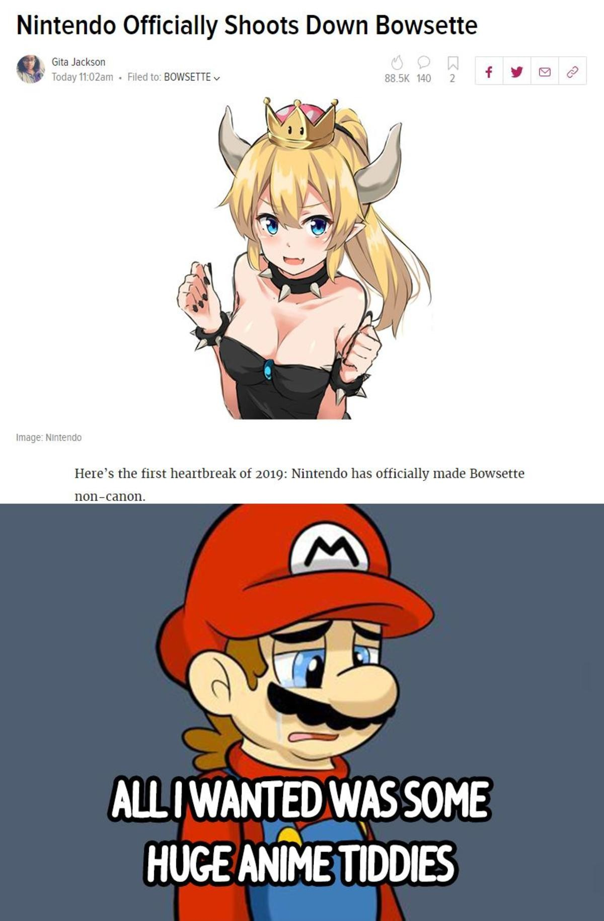 RIP Bowsette. join list: CuteMonsterWaifu (1343 subs)Mention History join list:. We were so close to have a canon version of her...