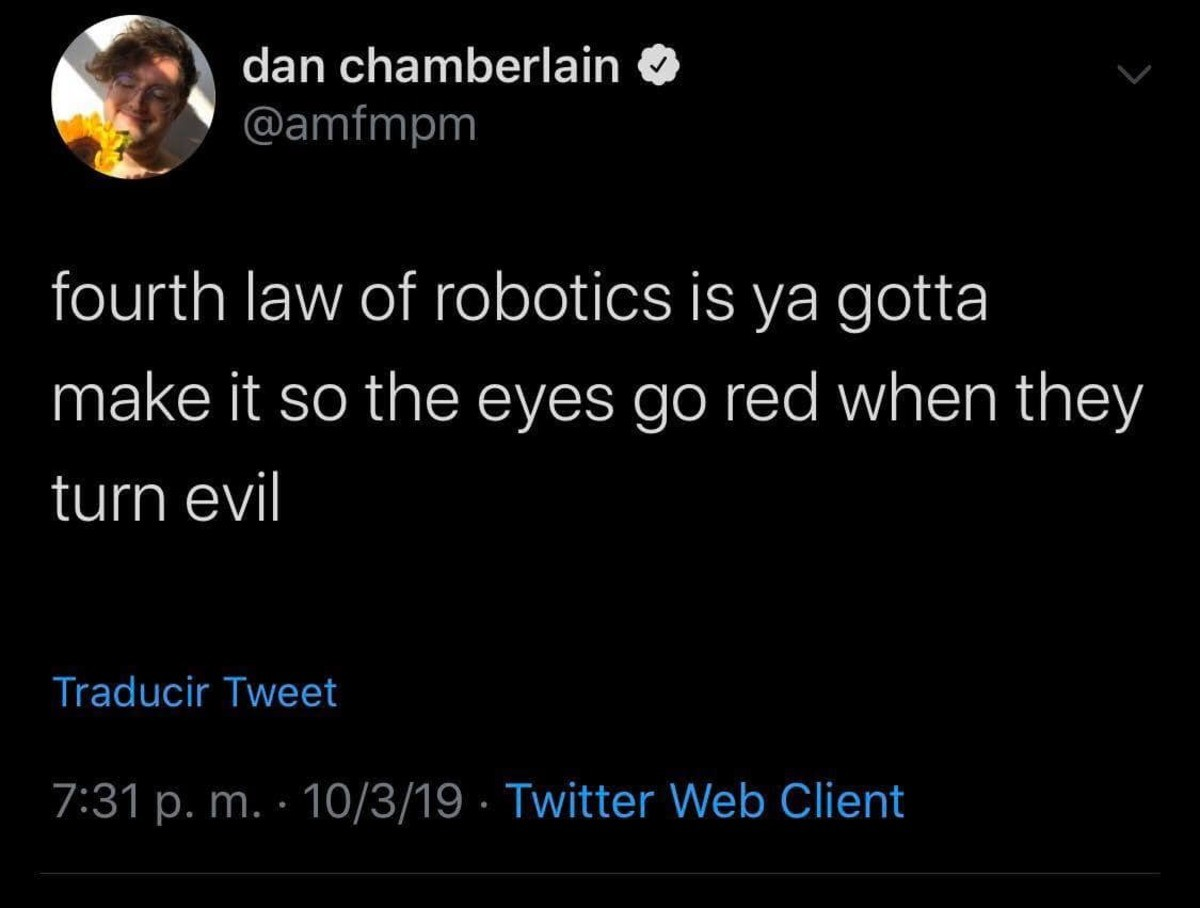 robo. .. Here is the problem with robot code robot code If(turning_evil){ eyecolor.change(red); } what it should be If(turning_evil){ don't; }