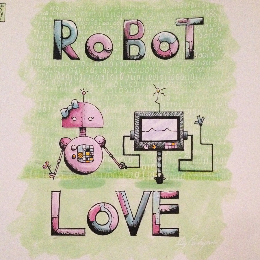 Robot Love drawing process. Daily Drawing book 8 day 1 I started a new daily drawing book. They're so cute together. Here's the drawing process. <3 I'm still