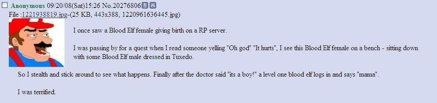 "Roleplaying. . lone: saw on server. I was passing by fer a quest when I read yelling ""Di: god"" ""It hm"", I see this Bleed an a bench - sitting dam: with seme. dr"