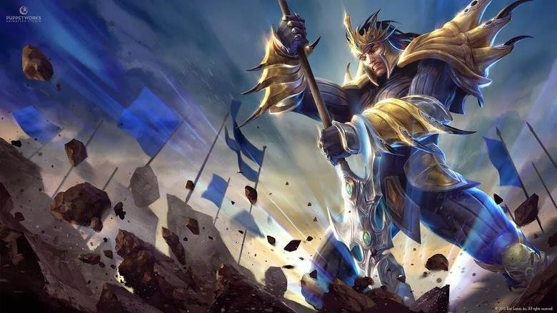 Jarvan IV new Splash Art. .. All those flags and still missed his combo. gg reported