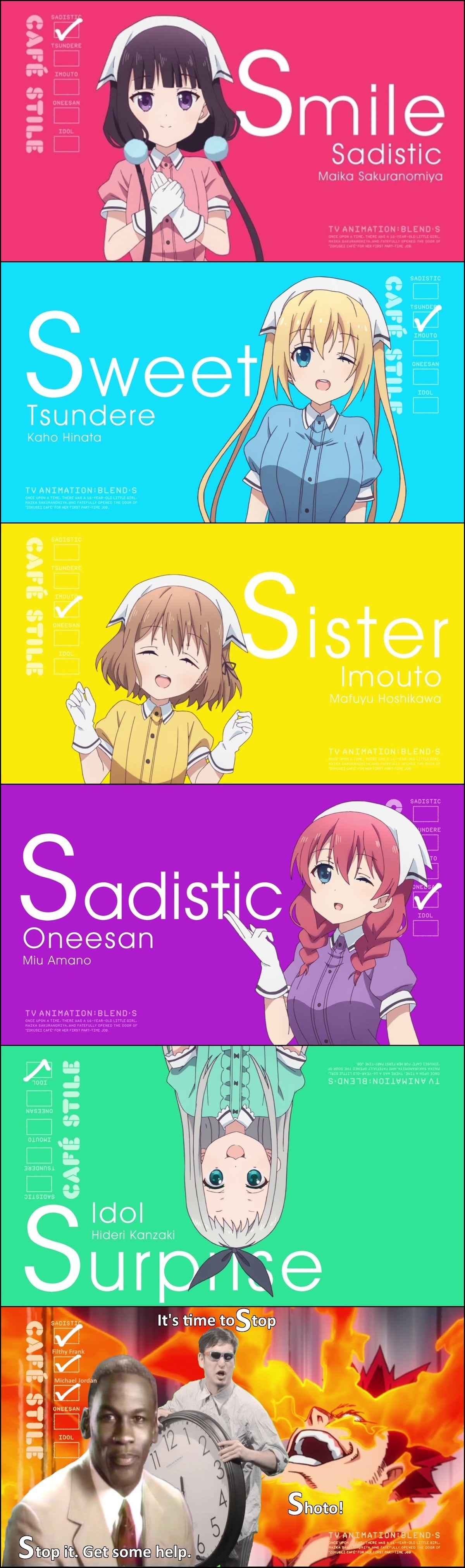 S Stand For. Anime: Blend S Idea: . Smile Sadistic Memo Gleeson Mm Amano. S stands for STANDO POWA!