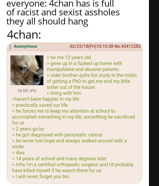 sad anon. .. 4chan is full of real people, with real raw opinions and emotions, not people putting on a facade. I feel like some people don't like that