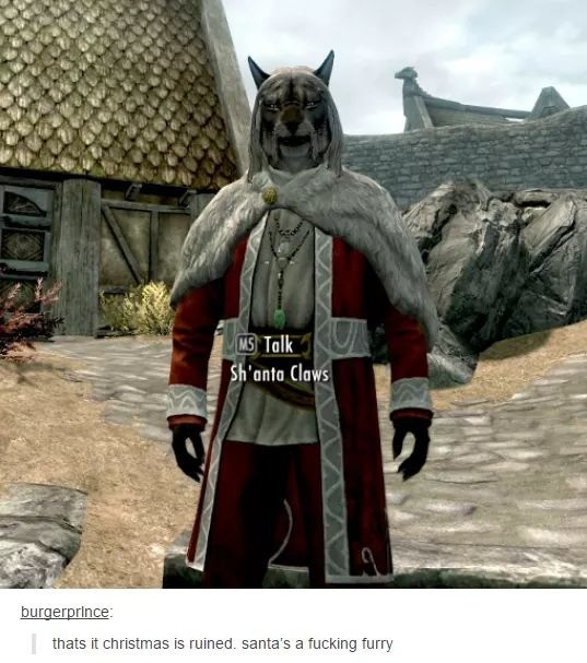 sanya. .. In the TES3 Morrowind DLC there is literally a character named Uncle Sweetshare, who was originally going to be called Grandfather Frost, who talks in singsong