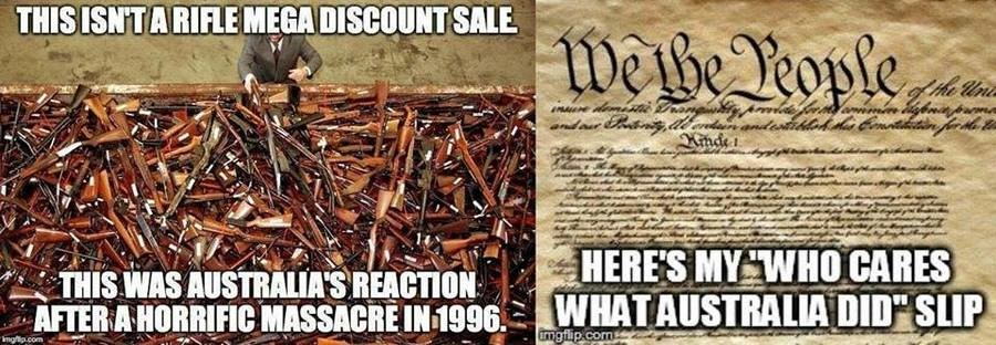 """Shall Not Be Infringed. I wish Australia sold those weapons here.. Kget J r.. When Germany annexed Austria (with a 95% austrian popular approval) they shortly thereafter called for a registration of all firearms """"in an effort to curb"""