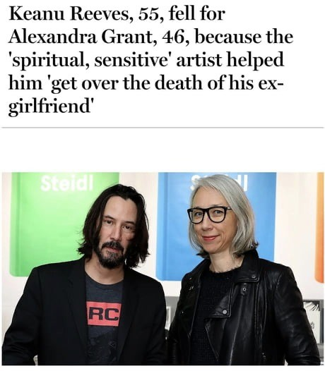 shiny glamorous Rhinoceros. .. Every time I see Keanu with his girlfriend I'm a bit melancholy that he'll have to watch her grow old and die while he lives on forever.