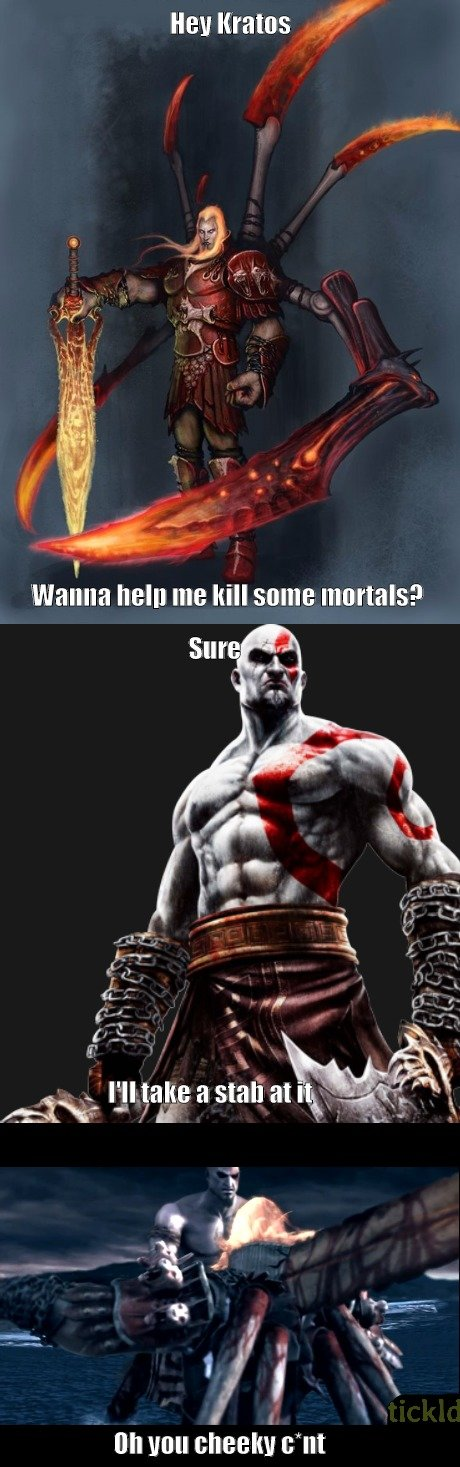 """Silly God of War. . Reg mains wtf'''"""" on Hun cheeky amt. O mn thnk Gd tht astrisk ws thre. I dn't thnk the wrd """"ct"""" i apprpriate fr ths wesite."""