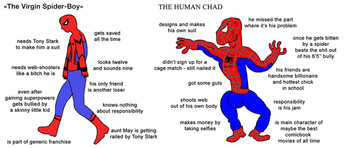 """Spiderman: Holland vs Maguire. . tthe Virgin Spiderbros"""" THE HUMAN CHAD he missed the part where its his problem designs and makes his own suit gets saved F nee"""