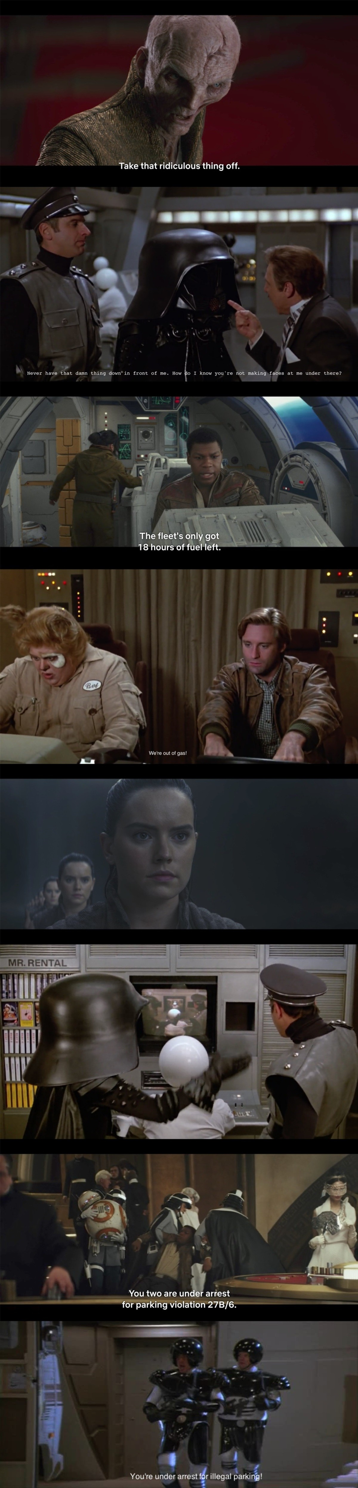 "Star Wars: The Last Spaceball. .. Starwars: ""We've lost site of them sir"" Spaceballs: ""We ain't found """