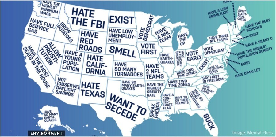 States. . Image: Mental Floss. You could apply New Mexico's to the entirety of the U.S. sans Texas, and it'd still make sense.
