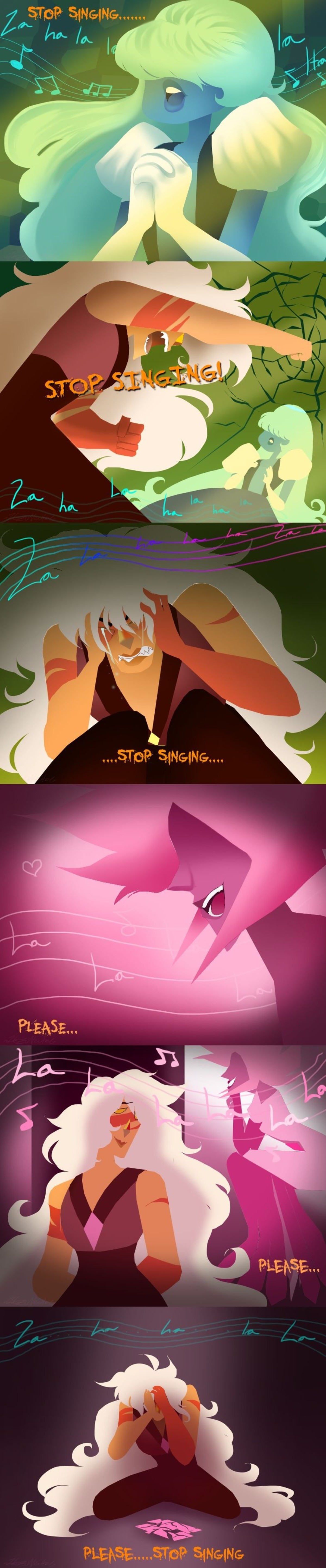 Stop singing. .. Weired we never see pink sing. Rose and Steven both love music and we know Pink likes to throw Balls.