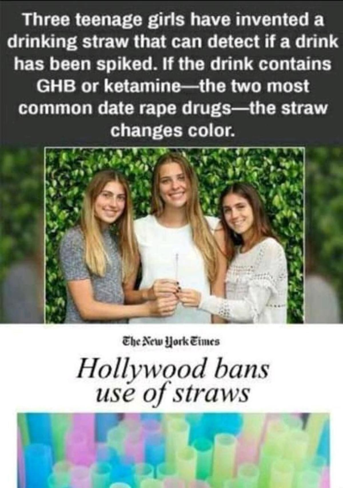 "straws. .. >teenagers invent nail paint that detects rape drug >media portrays it as ""promoting rape culture what the Comment edited at ."