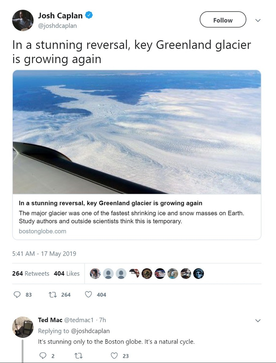 """'stunning' reversal. CNN: """"Global Warming May Not Be Real and Won't Kill Us All, But Here Is Why That is a Bad"""".. Catastrophe from climate change from greenhouse gas is overexaggerated, overpoliticized, and even overassumed. The real danger to our environment and ecology ar"""