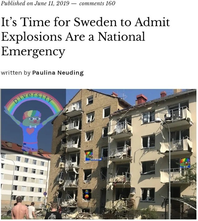 Sweden Explosions. https://quillette.com/2019/06/11/its-time-for-sweden-to-admit-explosions-are-a-national-emergency/ https://quillette.com/2019/06/11/its-time-