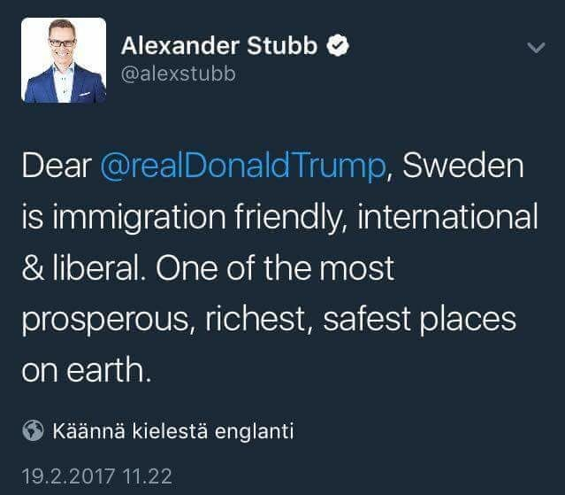 Swedish Irony. join list: theRedPill (1018 subs)Mention History. Alexander Stubb 9 is immigration friendly, international liberal. One of the most prosperous, r