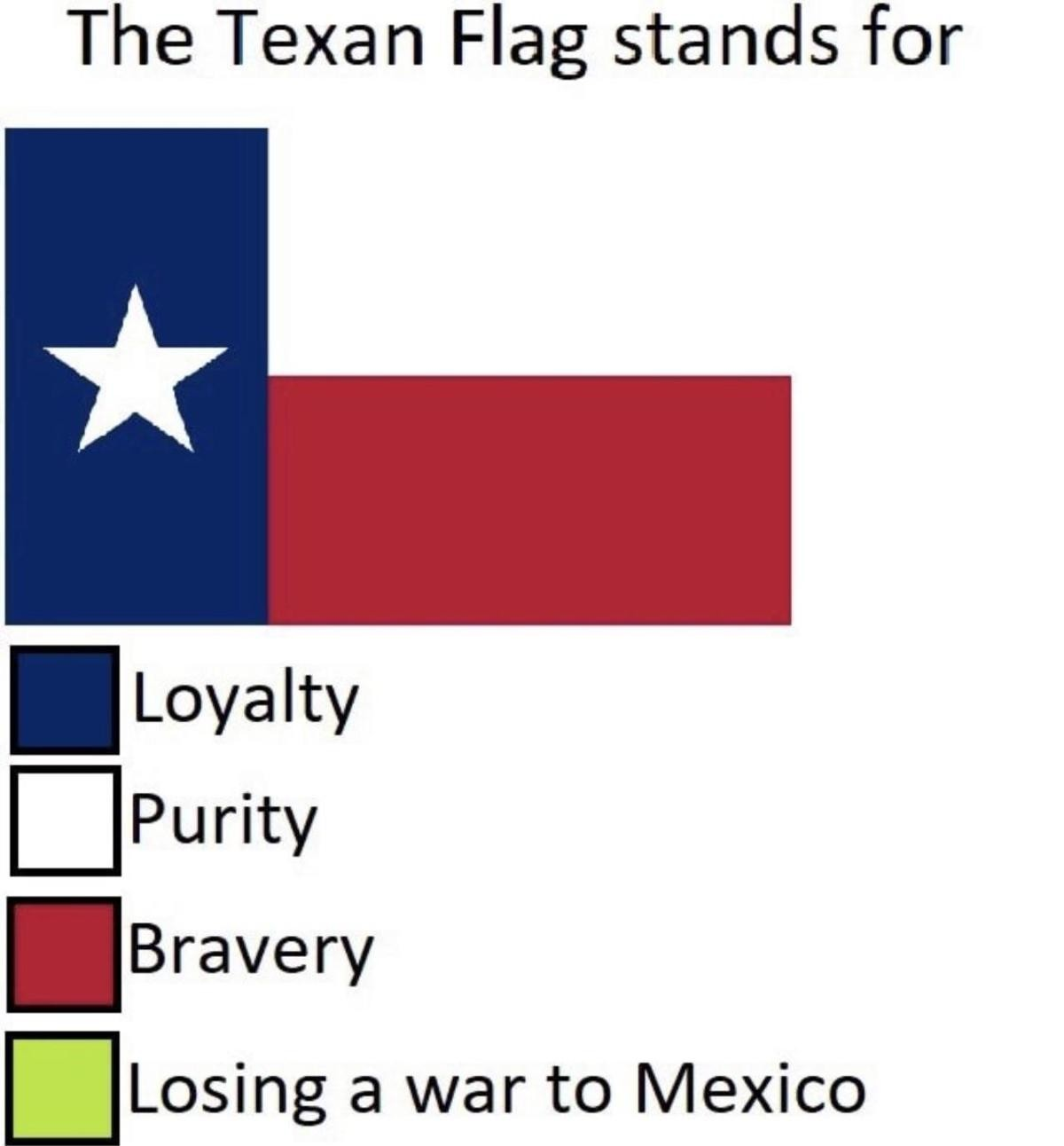 Texas, our Texas. .. No barbeque is better, TexMex is better than authentic Mexican, and all steaks are put to shame by any steak cooked within our border.