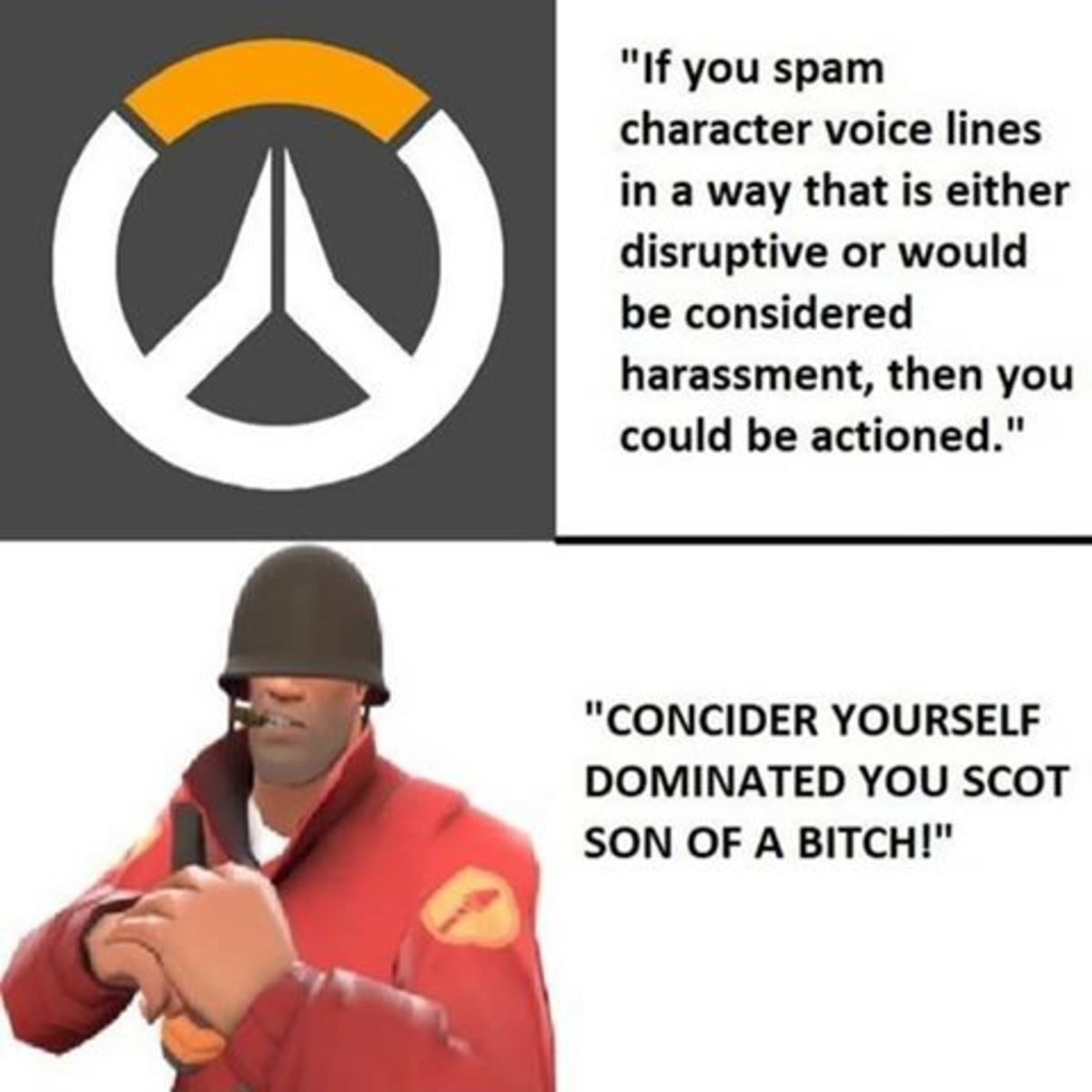 TF2 > Ovewatch. .. Overwatch: Paid game that will ban you for spoiling a movie TF2: Free game that not only allows inciting rage, but encourages it