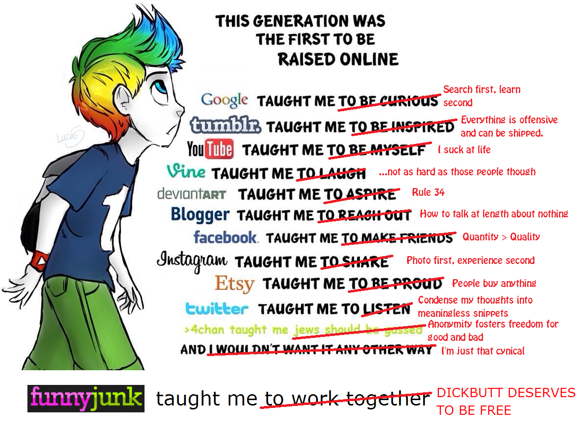 """The Butt Rises. Original: . THIS GENERATION WAS THE FIRST TO BE RAISED ONLINE Search first, learn Google TAUGHT ME :i'' second You The TAUGHT ME , ,,, """""""" I suck"""