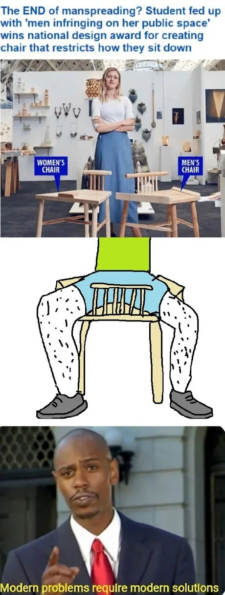 """""""The Design"""". .. gasp A chair with a built-in crotch protector? Brilliant, truly brilliant! Thanks feminists!"""