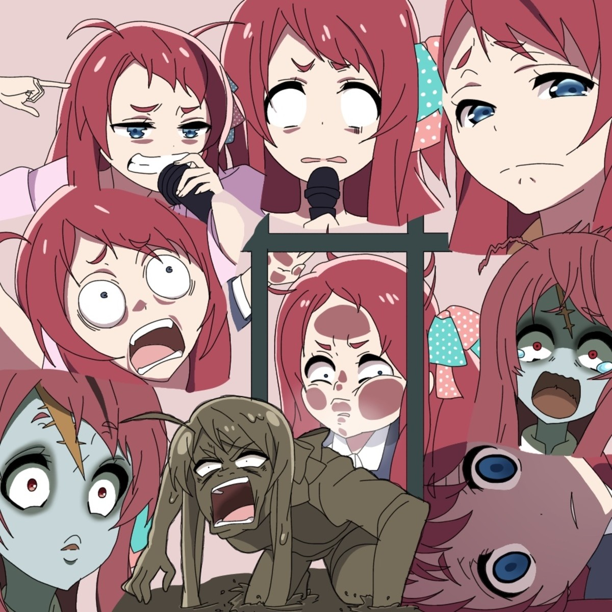 The Many Faces of a Zombie Idol. Source https://www.pixiv.net/memberillust.php?mode=medium&illustid=71760902 join list: SchoolWaifu (284 subs)Mention Histor