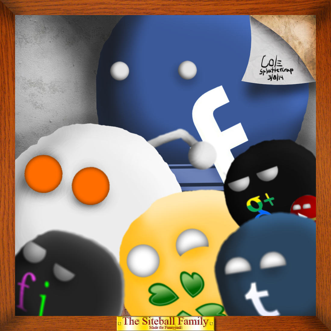 """The Siteball Family. This is some art work depicting a group of spherical creatures in a formation. These creatures seem to be depicting popular internet """""""