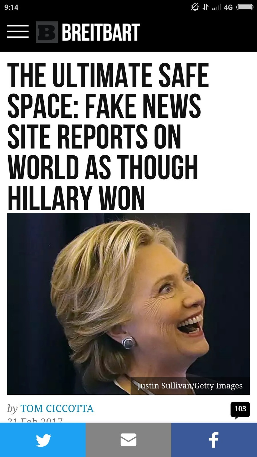 The ultimate safe space. www.breitbart.com/tech/2017/02/21/the-ultimate-safe-space-fake-news-site-reports-on-world-as-though-hillary-won/?utmsource=facebook&amp
