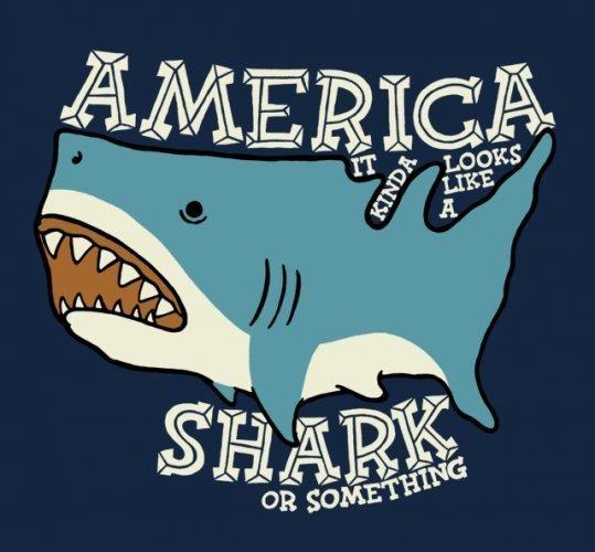 "The USA kinda looks like a shark. .. Haha ""or something"""
