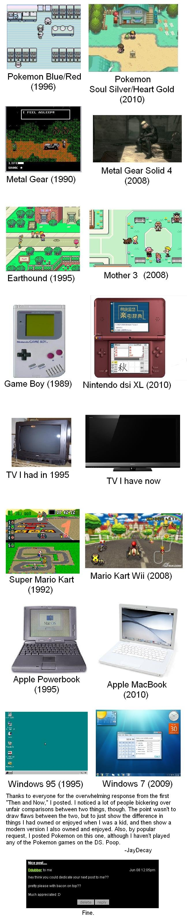 Then and Now 2. More stuff to look at from the past that is still around!. Pokemon Blue/ Red 1996) Soul Silver/ Heart Gold 2010) Metal Gear Solid 4 2008) TV I h