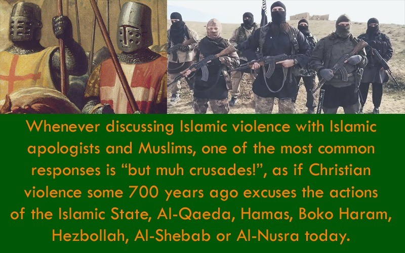 There's nothing worse than the Crusades. .. also lets not forget that the third and fourth crusades were totally disasters that ended up more up for christians then any muslim force. OR that muslims are l