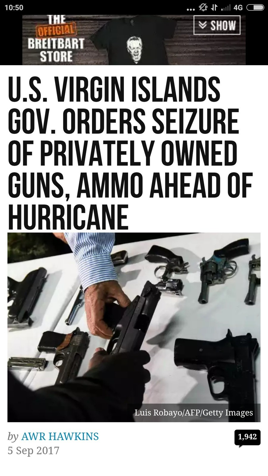 They're coming for your guns. ]www.breitbart.com/big-government/2017/09/05/gov-virgins-islands-orders-seizure-privately-owned-guns-ammo-ahead-hurricane/?utmsour