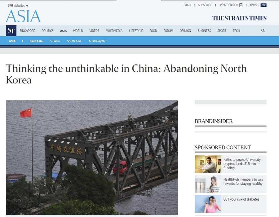 Thinking the unthinkable in China: Abandoning North Korea. https://archive.fo/8wQaC Original article:http://www.straitstimes.com/asia/east-asia/thinking-the-unt