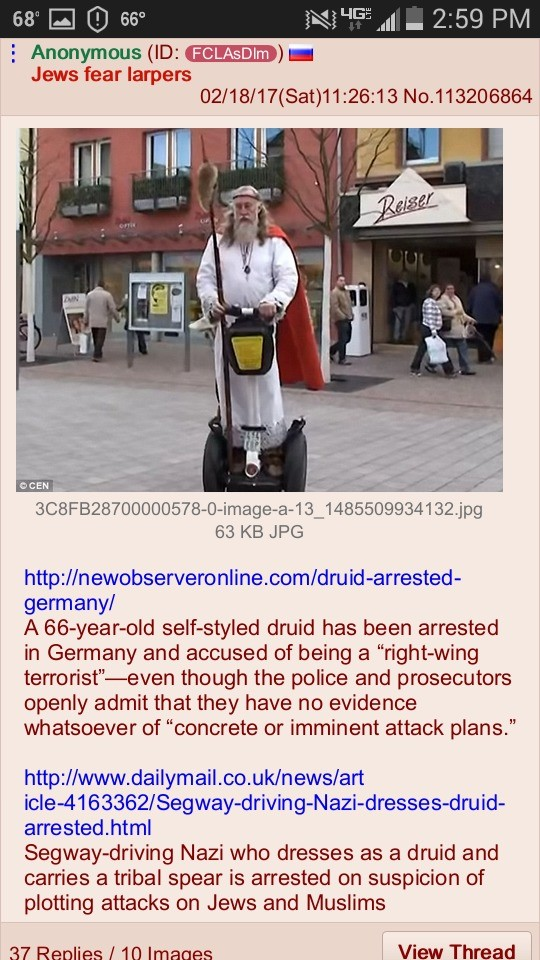 this just raises more Questions. join list: 4LeafClover (199 subs)Mention History. 2259 PM Jews fear larpers 63 KB JPG germany/ A druid has been arrested in Ger