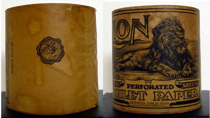 """Toilet Paper Comp. 1889 Lion Toilet Paper - 1,000 sheets perforated - 4 1/2"""" X 5 5/8"""" An antiques picker posted these pictures on ebay July 30, 2012 H"""
